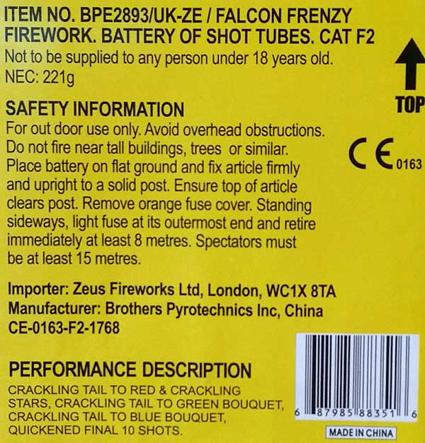 CE Fireworks Label