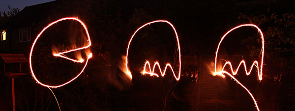 Pac Man in sparklers