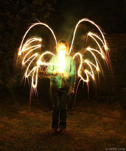 Drawing angels with sparklers
