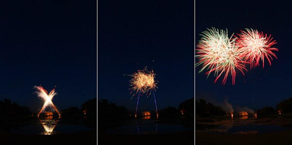 Fireworks over water sequence